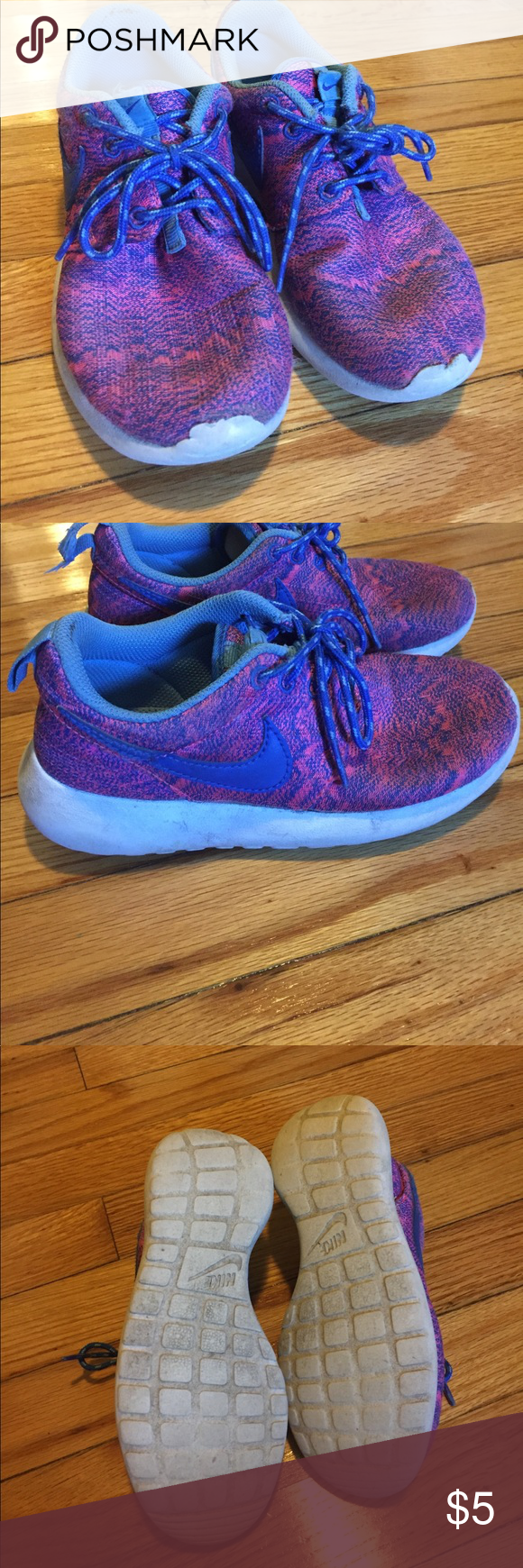 bf62bf2c42af Girl s Nike pink and blue Roches Girl s Nike pink and blue Roches. Worn  numerous times but still in good condition. Nike Shoes Sneakers