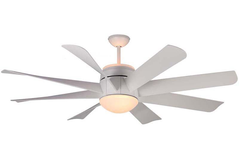 """The Monte Carlo Turbine 56"""" Ceiling Fan is seen here in the Rubberized White finish. The Monte Carlo 8TNR56RZWD (Model Number) has a 56"""" Blade Span and is ETL Indoor Rated. The Turbine ceiling fan has"""