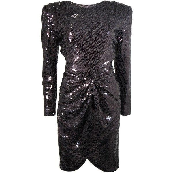 Preowned Vicky Tiel Black Iridescent Sequin Cocktail Dress Size 38 (4.110 BRL) ❤ liked on Polyvore featuring dresses, black, cocktail dresses, sequin embellished dress, shoulder pad dress, back zipper dress, sequin sleeve dress and sequin cocktail dresses