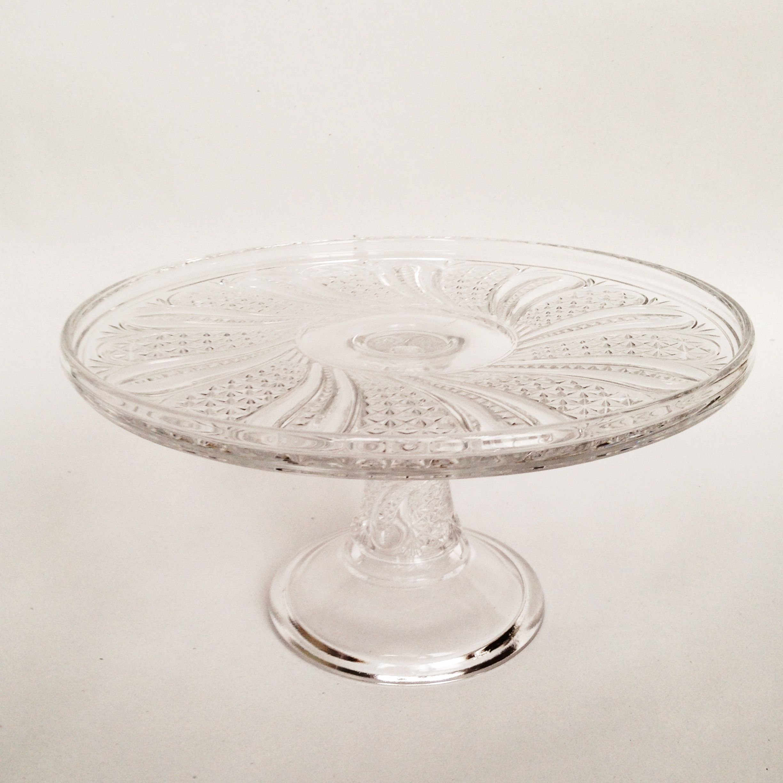 Vintage crystal pinwheel cake stand part of Nimble Well s rental