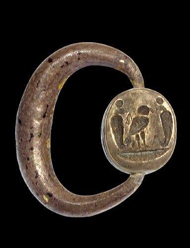 Egypto-Phoenician Silver Swivel Ring, C. 1000 BC
