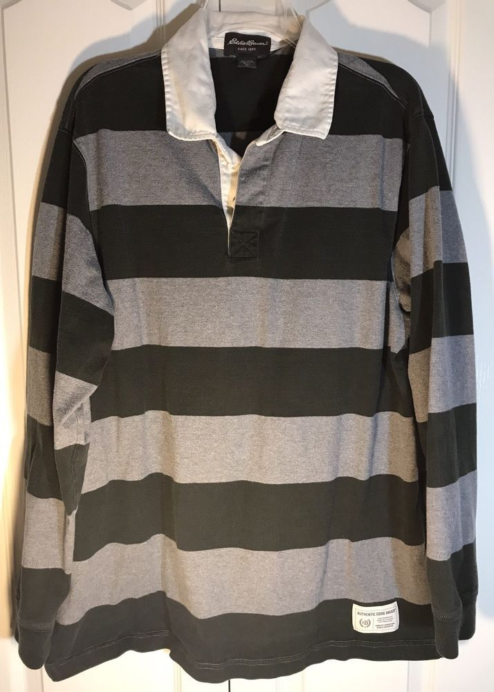 Ed Bauer Men S Xl Tall Rugby Shirt Dark Green And Heather Gray