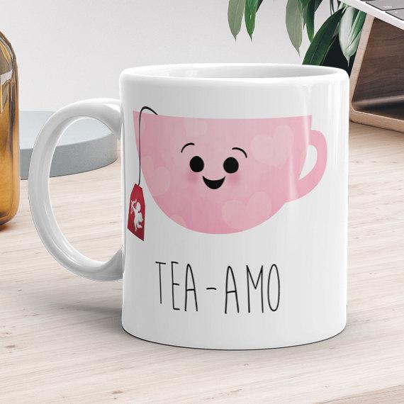 Love Mug 11oz or 15oz - Tea-amo - Ti Amo Funny Tea Lovers Mug Gift Teacup I Love You Cupid Happy Valentines Day Gifts Coffee Mugs Heart Pink