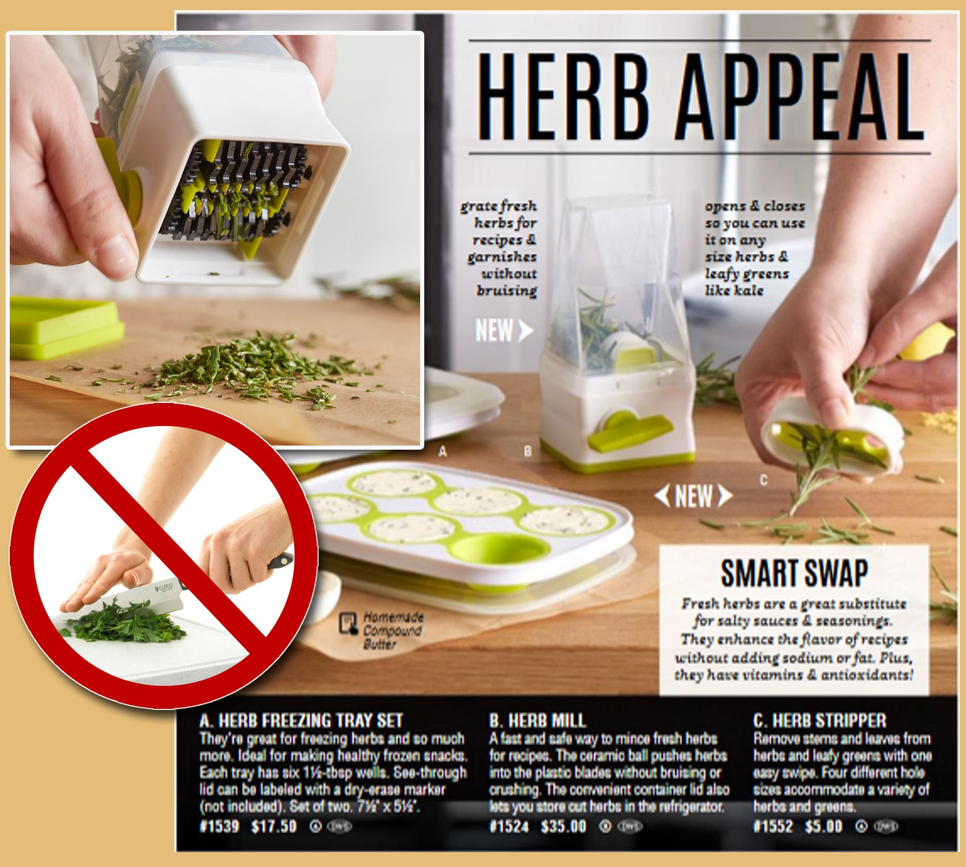 Chefs buying fresh herbs - Pampered Chef New Spring Products Herb Stripper Herb Mill Herb Freezing Tray