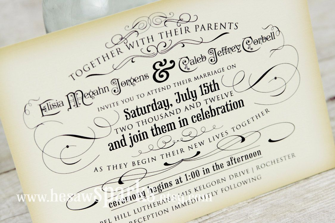 Vintage Wedding Invitation - Printable - DIY - The Timeless Suite ...