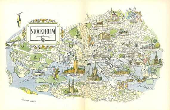 photograph about Scandinavia Map Printable called Stockholm Map / Scandinavia Map Artwork / Traditional Map Print