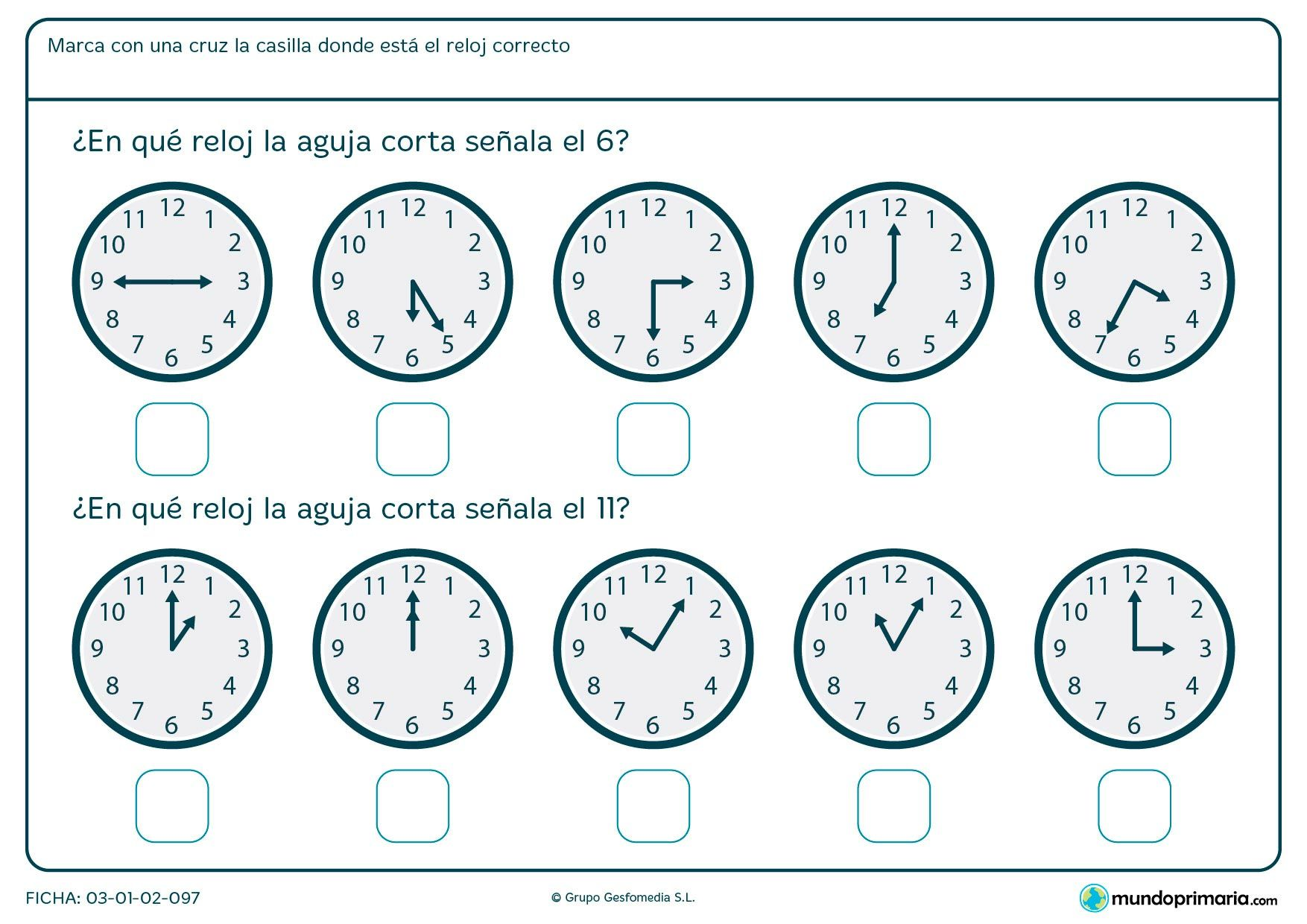 Ficha de qu marca la aguja del reloj para primero de - El tiempo getafe por horas ...