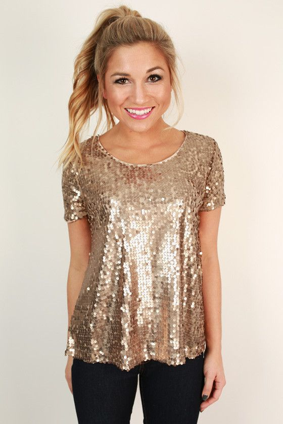 c1d50a655fcd Sparkle In The City Top in Taupe - Gold Sequin Glitter Top | {My ...