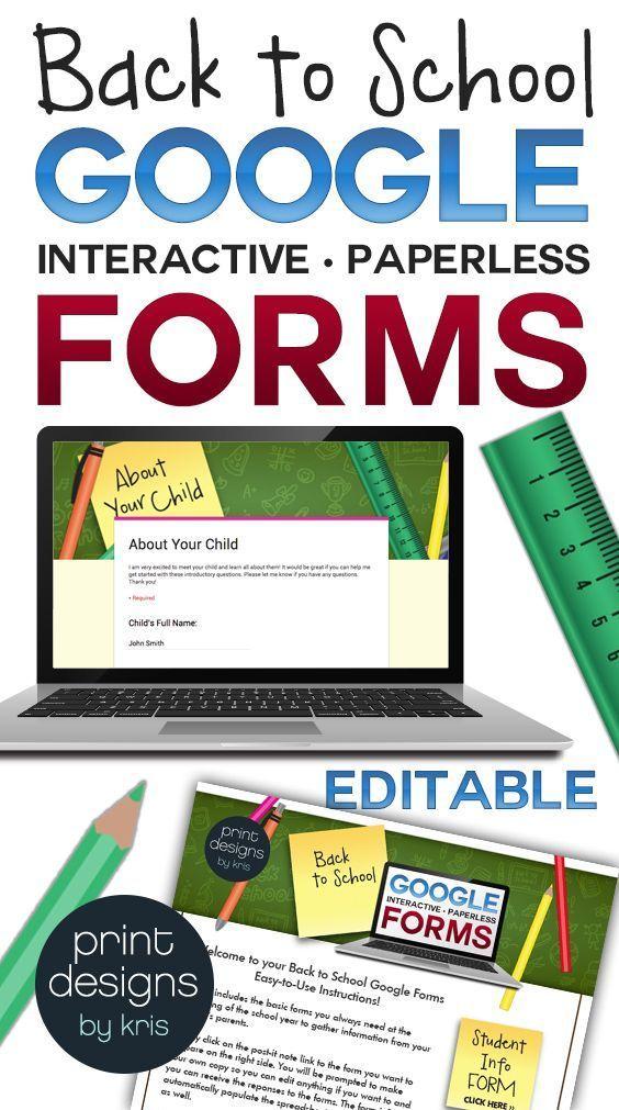 Back to School Google Interactive Paperless Parent Forms Pinterest - spreadsheet google form