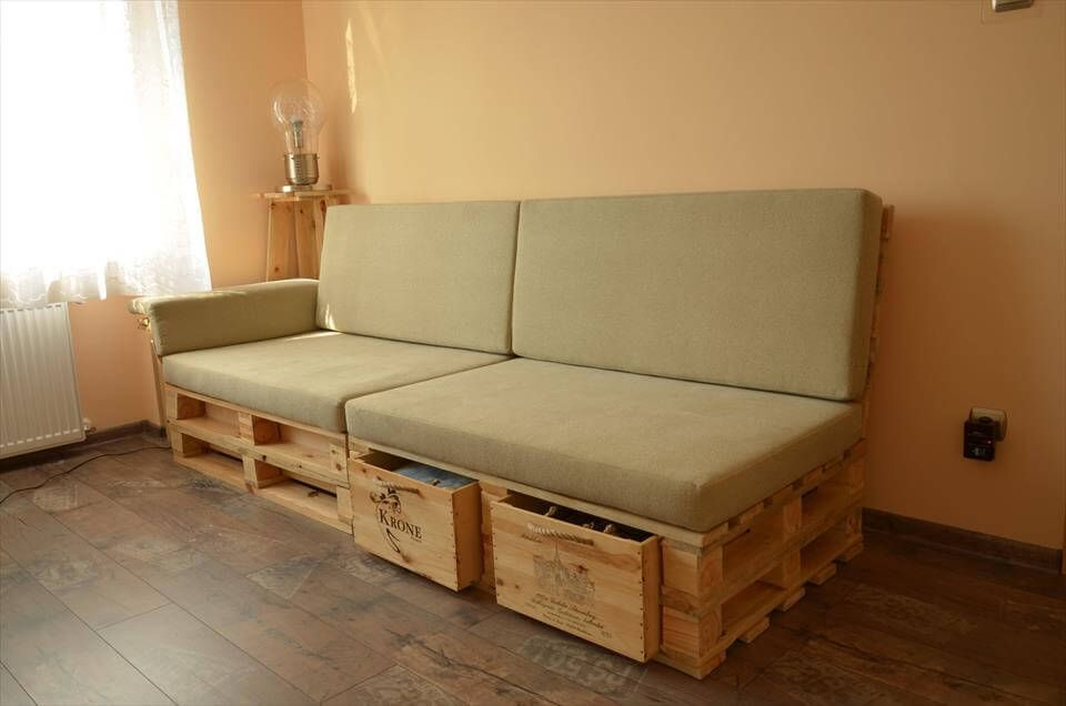 Pallet Sofa With Drawers Easy Pallet Ideas Making Pallet Furniture Diy Pallet Sofa Diy Pallet Furniture