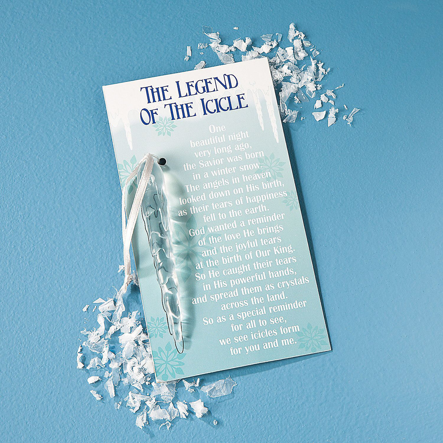"Legend Of The Christmas Tree Poem: ""The Legend Of The Icicle"" Christmas Ornaments On Cards"