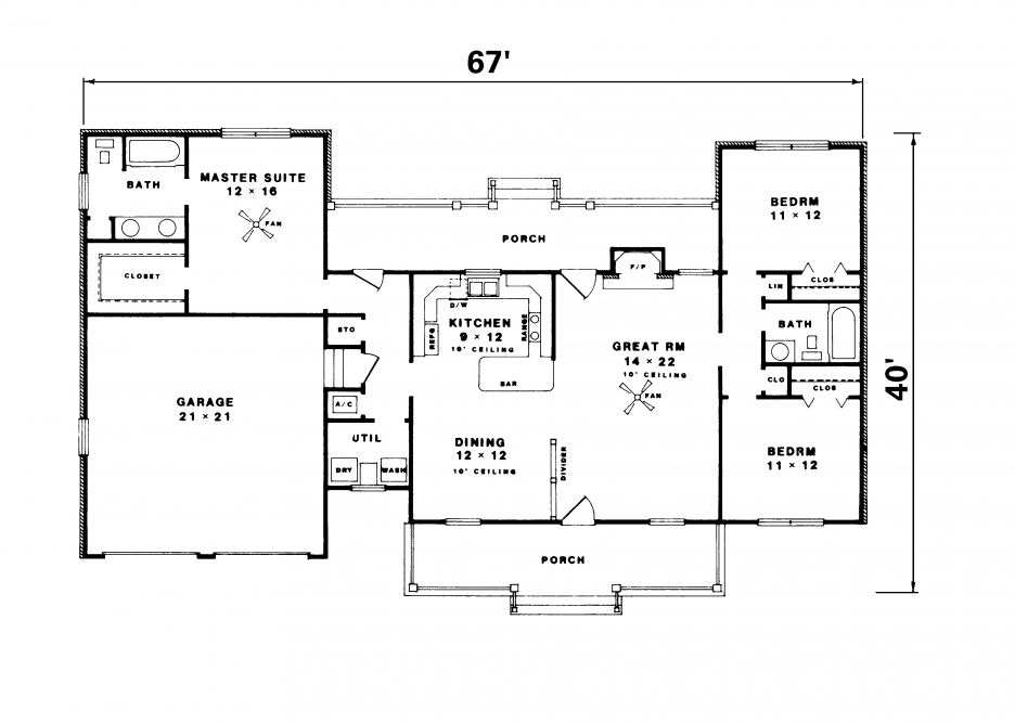 Simple ranch house plan ranch house luxury log home Ranch house floor plan