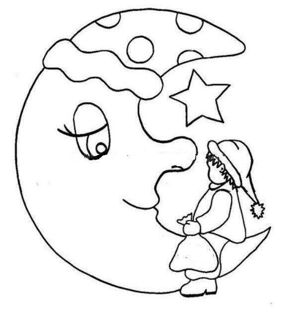 Ay Boyama Boyama Sayfalari Pinterest Ay Keçe Ve Bebek Odaları