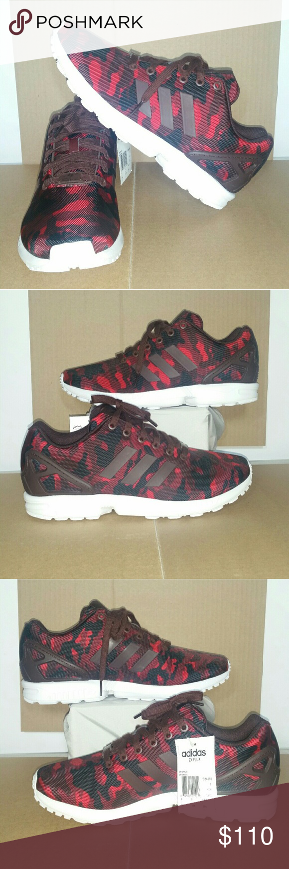 d034a9f24e499 NWT Adidas ZX Flux Torsion Red Camo Shoes B24389 New, without box, Adidas  ZX Flux Torsion shoes. They are a red and black camouflage pattern, model  #B24389.