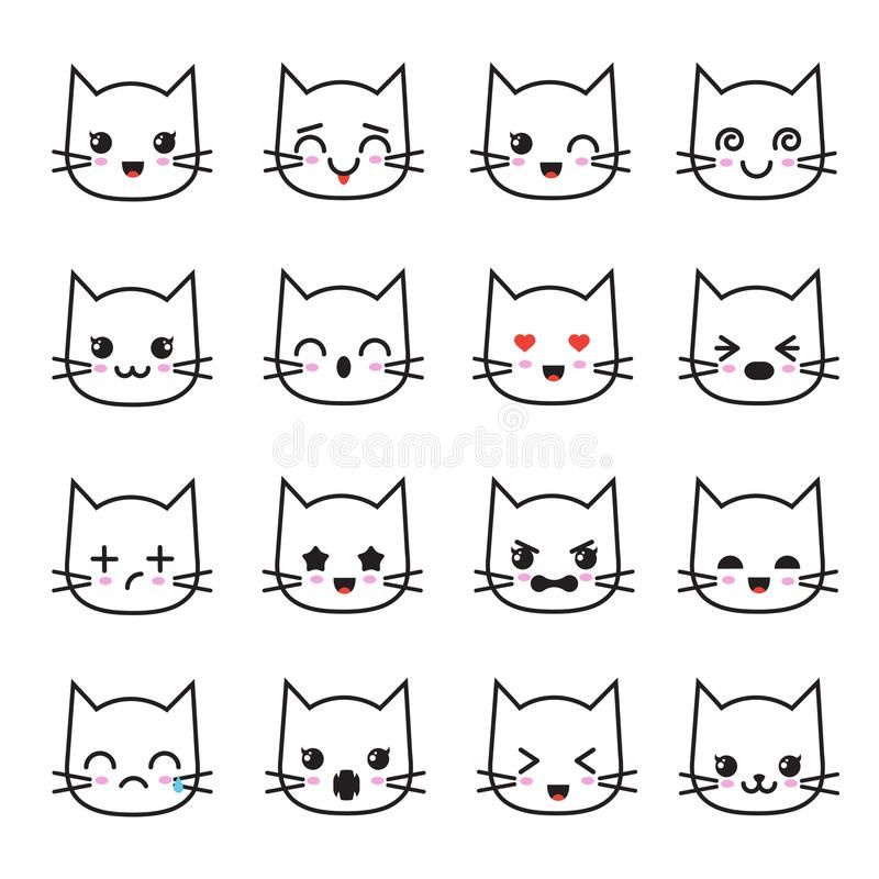 Cute Kitten Kawaii Emoticon Collection Funny White Cat Emoji Vector Avatars Character Cartoon Cat Face Kawaii Avatar Emot In 2020 Cat Emoji Kittens Cutest White Cat