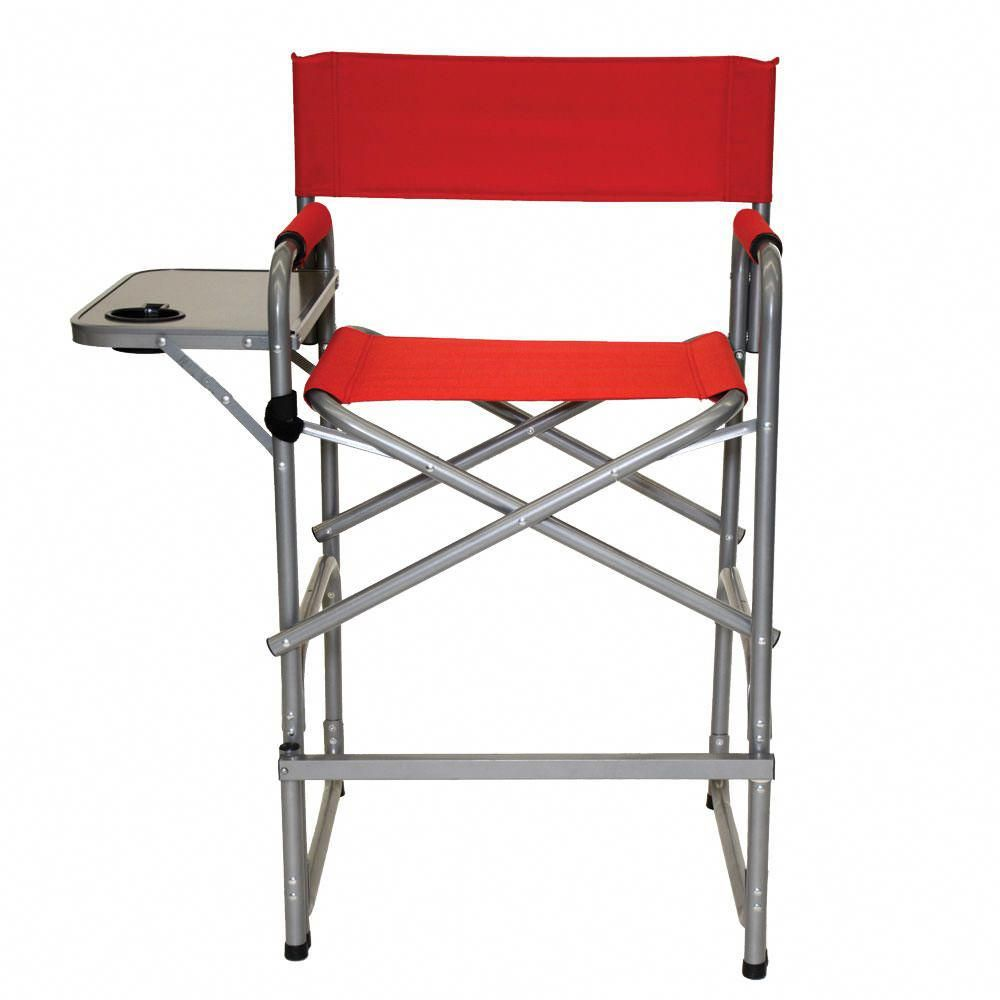 Tall directors chair offers a higher seat height to simplify entry
