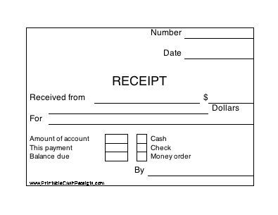 Four conveniently sized, rectangular cash receipts appear on this - cash receipt format word
