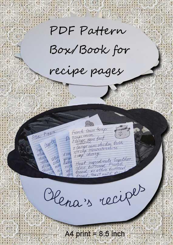Pattern, PDF files, Printable Recipe Book/Box Pattern, Instant Download, PDF download, printable, recipe, recipe book pages, recipe book,