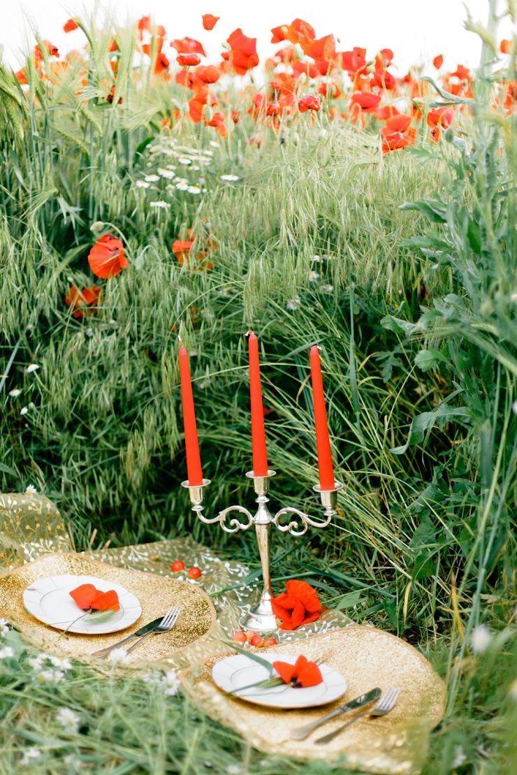 Wedding place setting in poppy field | fabmood.com