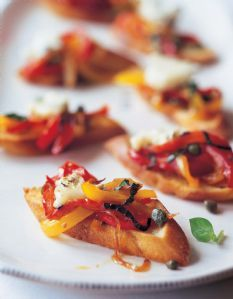Barefoot Contessa - Recipes - Bruschetta with Peppers & Gorgonzola