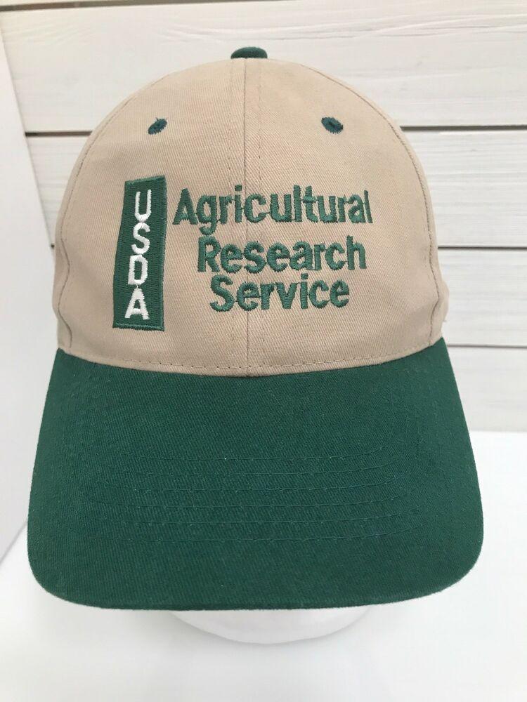 USDA Agricultural Research Service Brown Green Baseball Hat Strapback   sportsman  BaseballCap b75694fe42ff