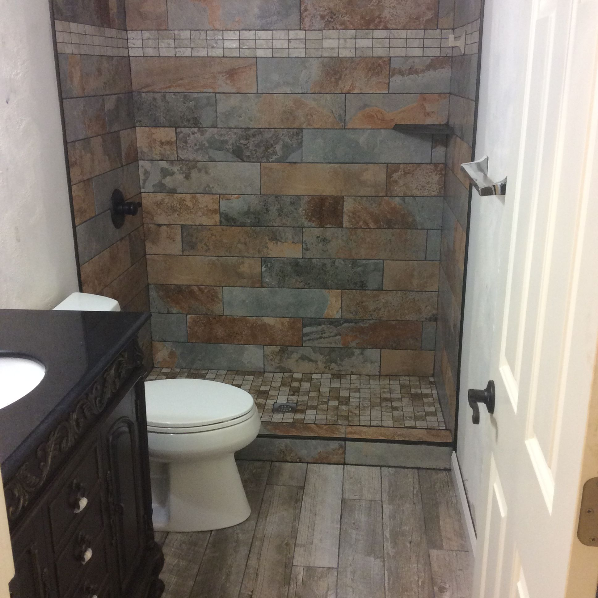 We Installed Slate Tiles With Mosaic Shower Base And