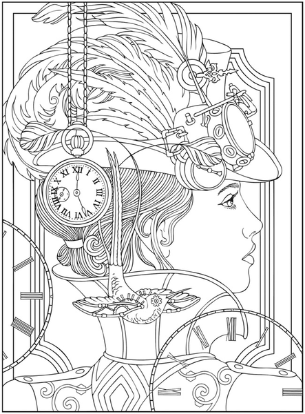 Steampunk Coloring Pages | Crafty | Coloring pages, Adult coloring ...