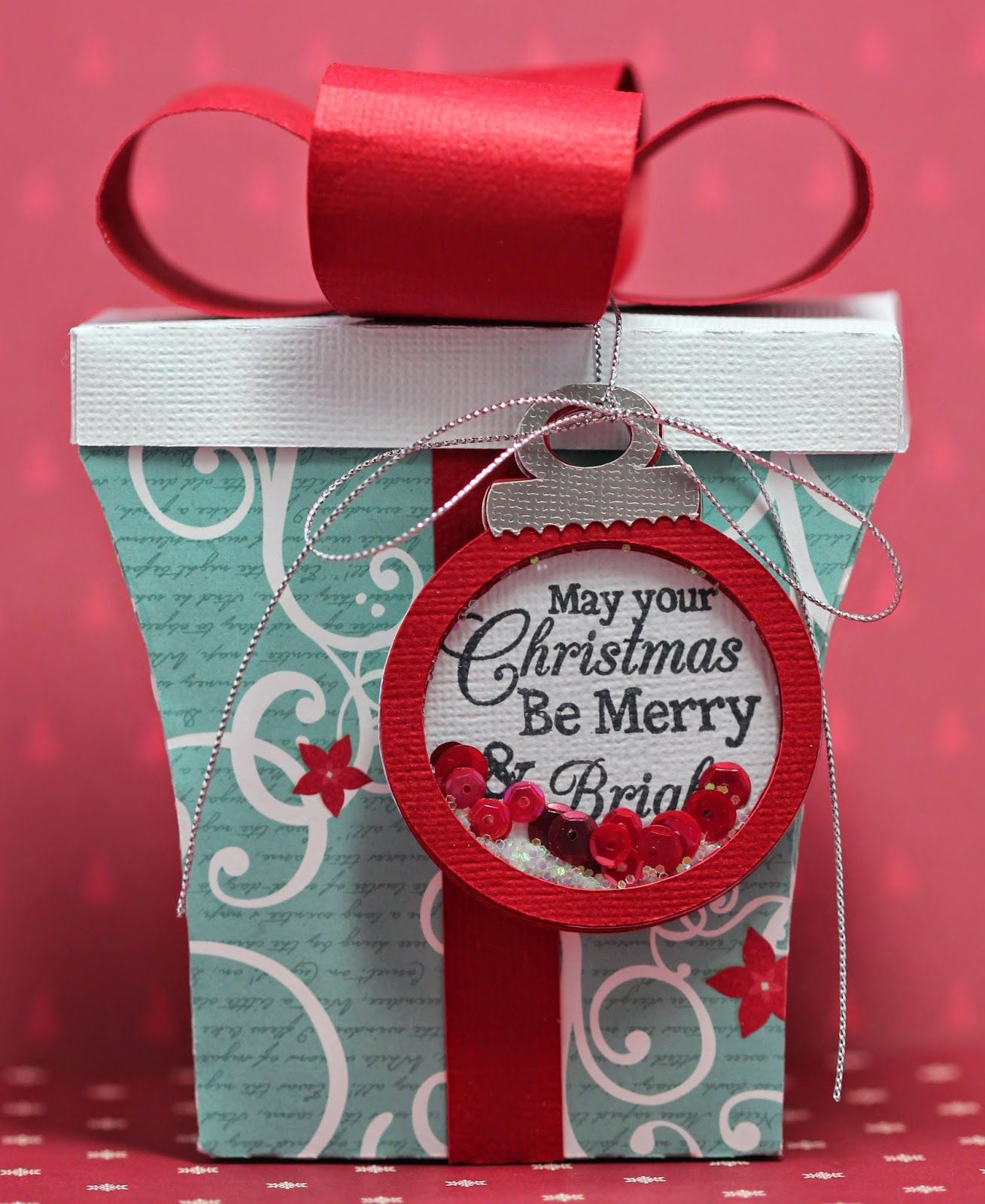 FREE SVG for present box and shaker ornament tag ALSO a