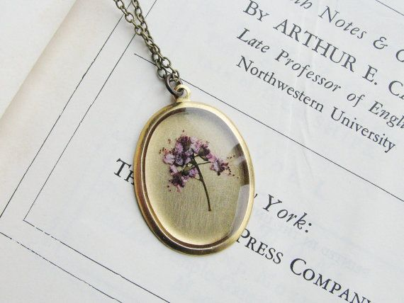 Real Flower Necklace Pressed Botanical Jewelry by KateeMarie, $29.00