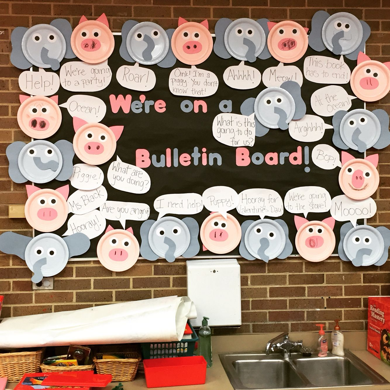 Elephant And Piggie Bulletin Boards Kids Make Using Paper Plates Pape Mo Willems Author Study Classroom Activities