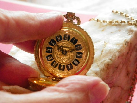 Vintage Goldtone Locket. with Watch by PendragonFarm on Etsy, $29.95