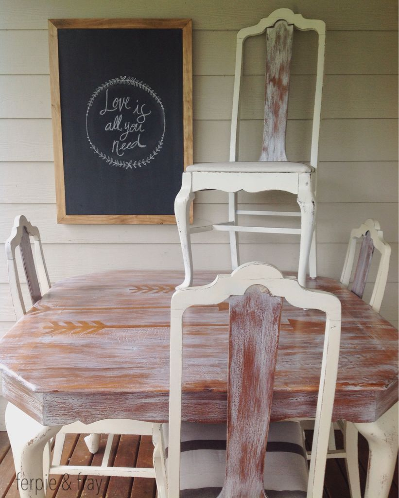 table and chairs painted in antique white general finishes milk rh pinterest com