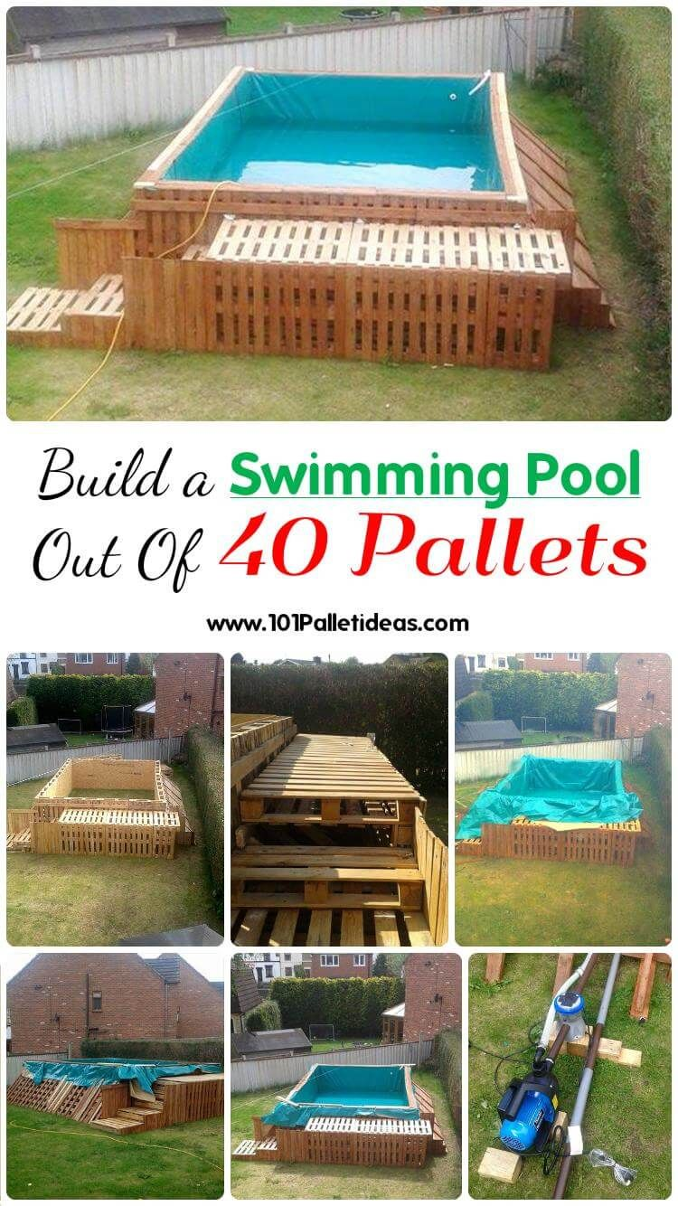 build a swimming pool out of 40 pallets | diy pallet projects