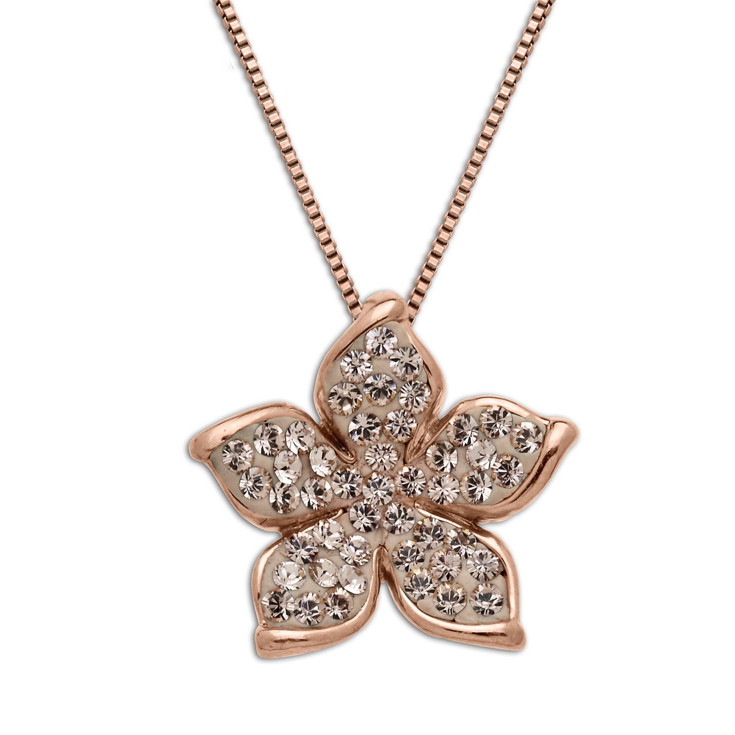 Crystaluxe Flower Pendant Necklace with Swarovski Crystals in 14K