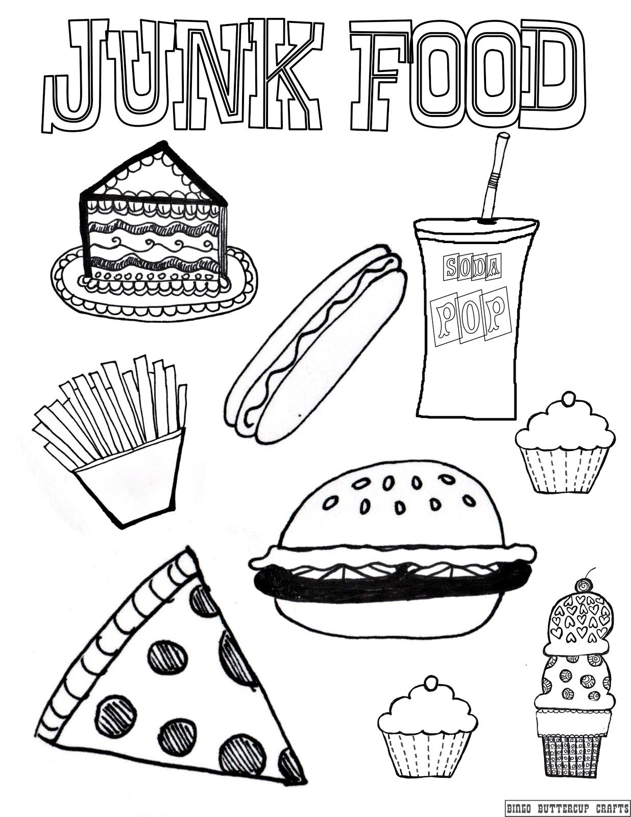 Printable coloring pages healthy habits - Junk Food Coloring Page