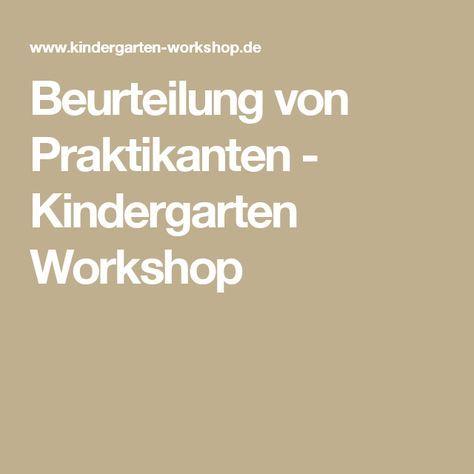 Beurteilung von Praktikanten | Kindergarten workshop