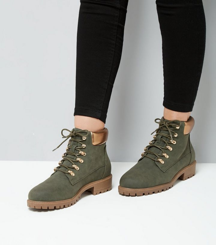 L2017 Http Www Newlook Com Row Womens Footwear Boots Khaki Metallic Trim Lace Up Boots P 541614334 Comp Browse Boots Shoe Boots Lace Up Boots