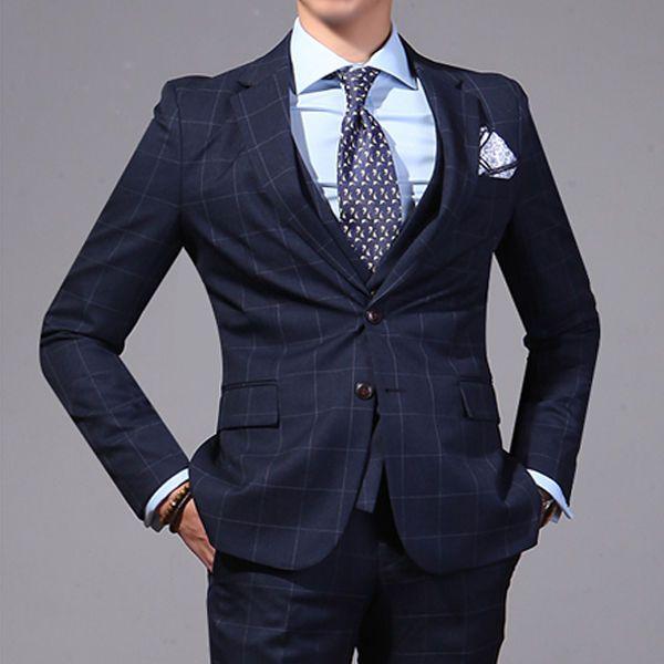 men s lounge suit dress prom wedding slimfit suits 2BT navy ...