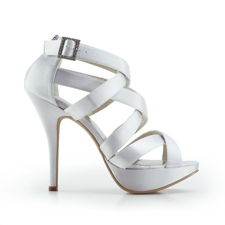 """Dyeable Mystery 5"""" Peep-toe Strap Sandals - Ivory Satin Wedding Shoes (11 colors)  Strap Sandals,Zipper,Ivory,White,Peep-toe,Wedding,Satin Upper,Leatherette,Anti-skid Rubber Sole,  US$74.98"""
