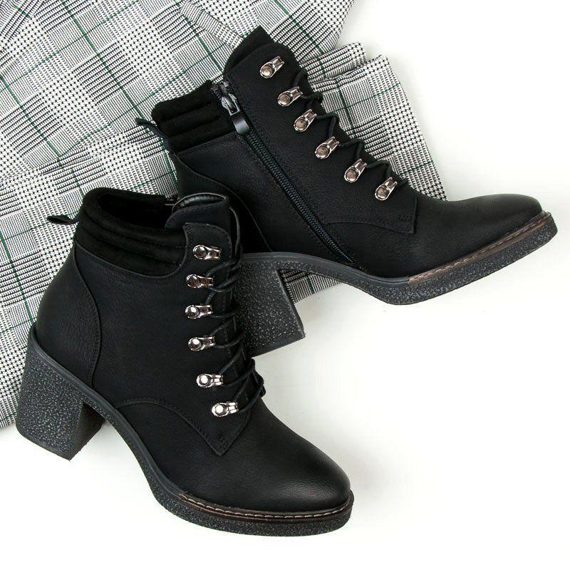 Seastar Sznurowane Botki Na Obcasie Czarne Boots Shoes Ankle Boot