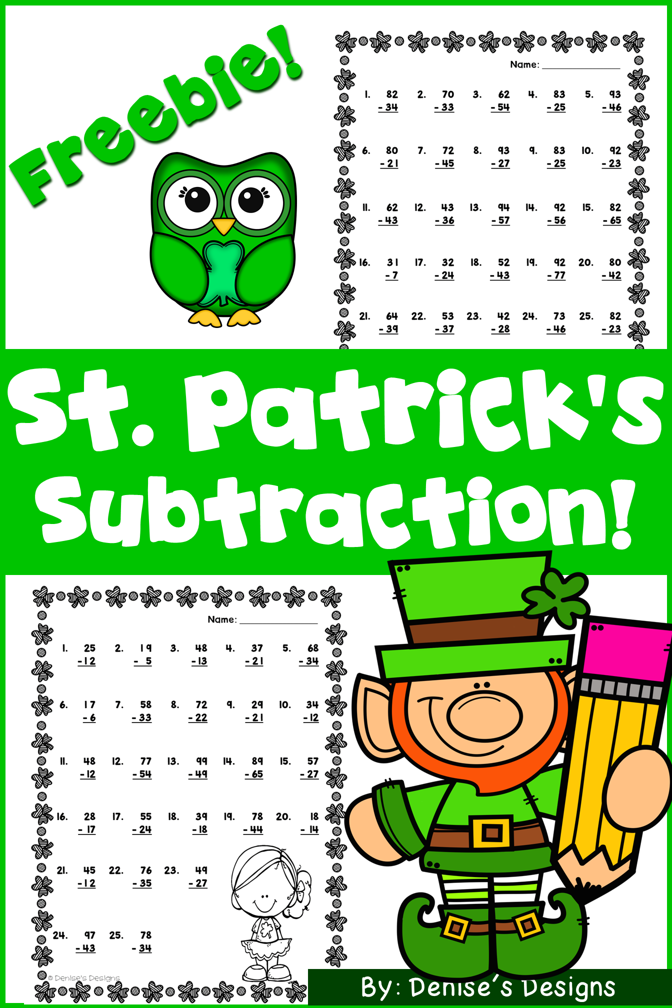 FREE subtraction double digit worksheets to use for lessons, extra ...