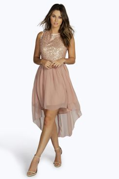 7d87f210c507 Sequin Top Open Back Chiffon Dip Hem Dress in 2019 | Dresses | Prom ...