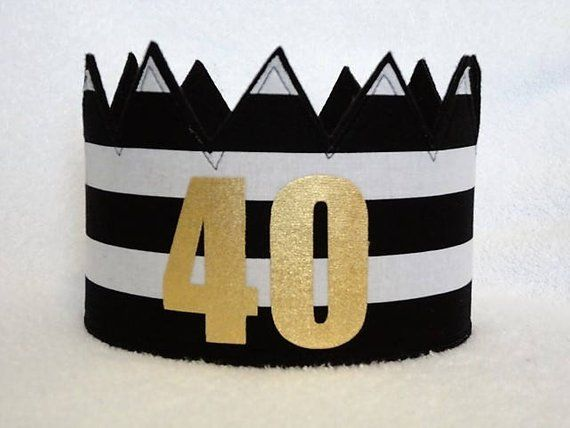 40th Birthday Crown Hat Gold Party Ad