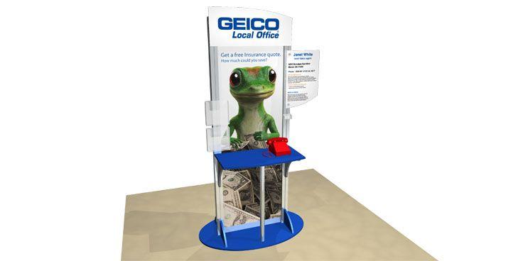 Kiosk Retail Display Geico With Images Retail Display