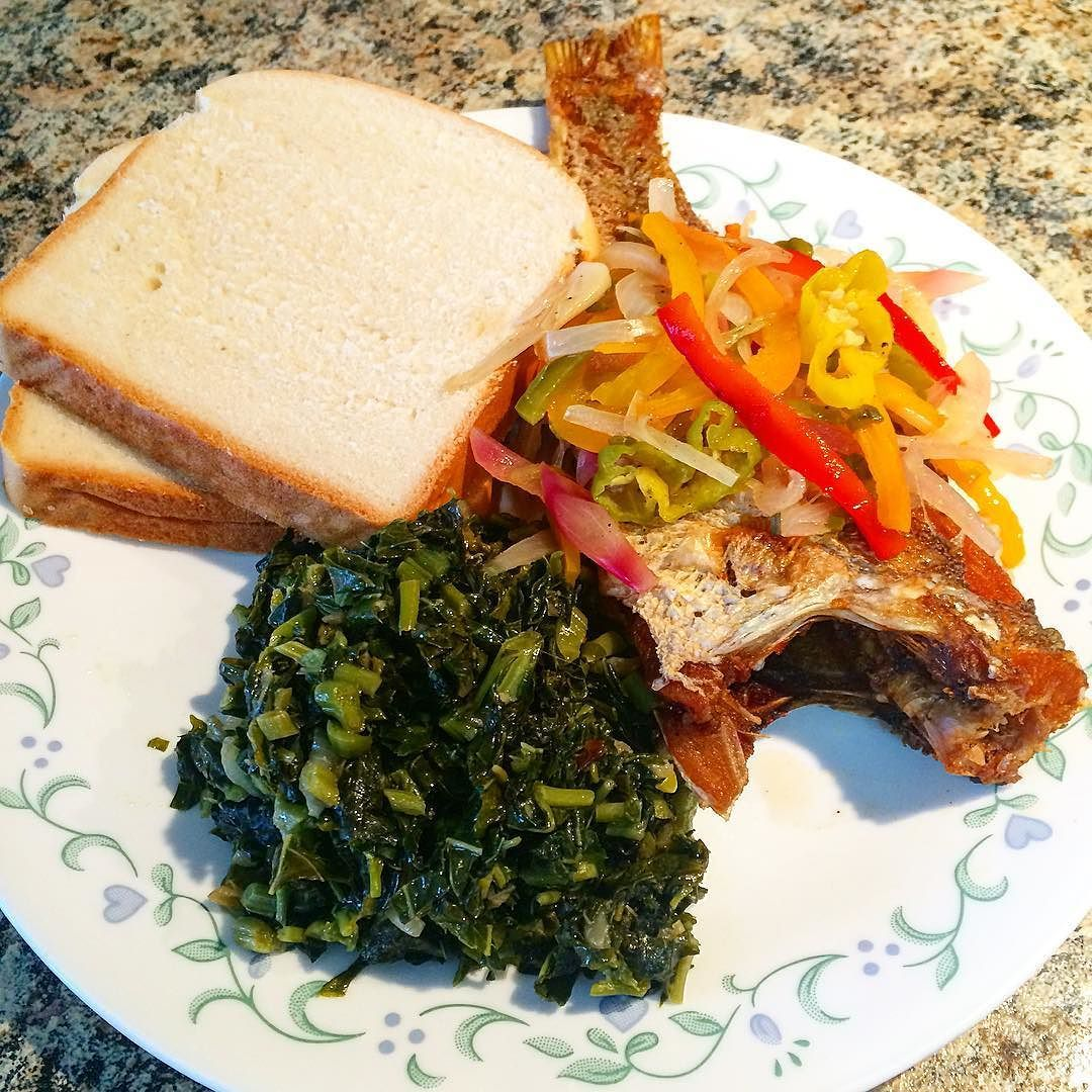 Fried fish with callaloo and Hardo bread! And can\'t forget the ...