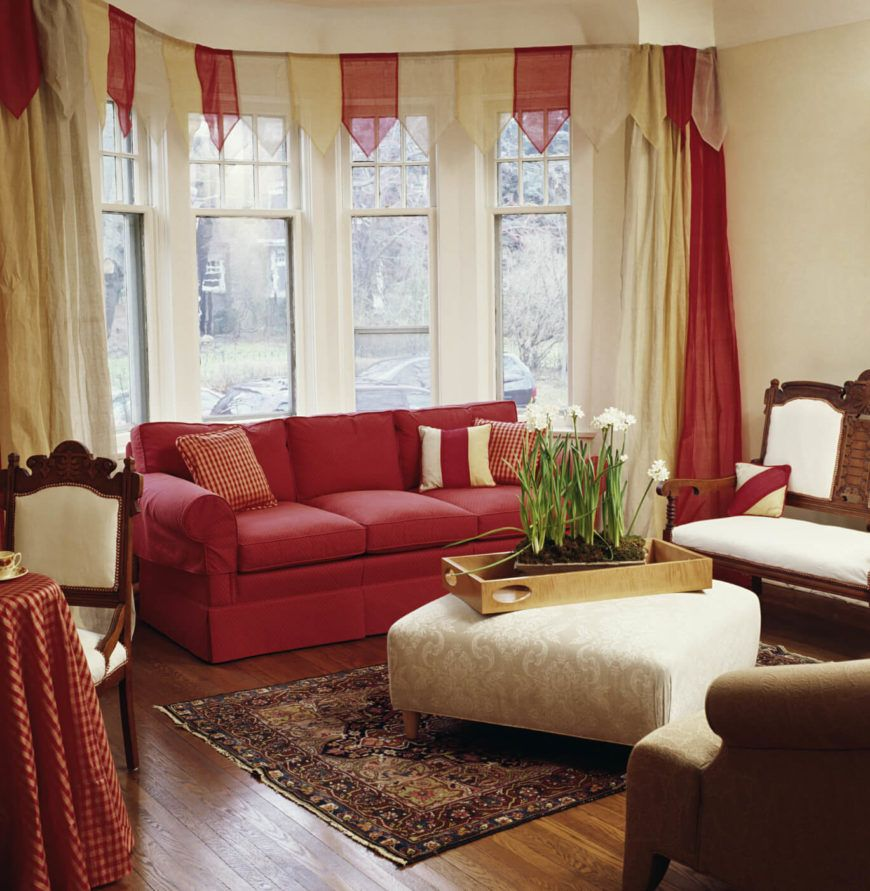 The Top Banner Above The Window Would Be A Cute Accent For A Sliding Glass Door Curtains Living Room Retro Living Rooms Curtains Living #red #and #grey #living #room #curtains