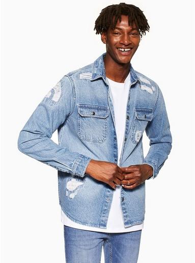 5379c9f4 Bleach Rip Denim Slim Shirt in 2019 | Products | Ripped denim ...