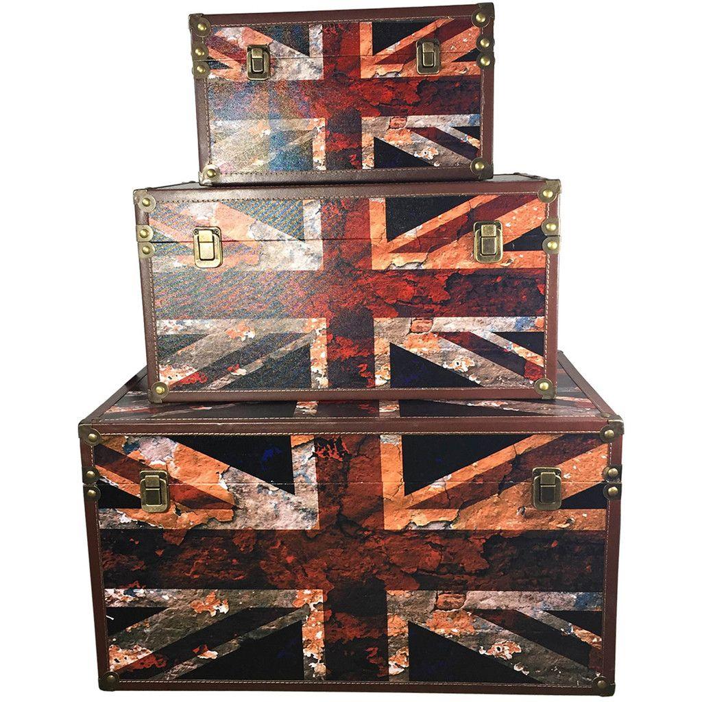 Union Jack Storage Trunk Set #homedecor #storage  sc 1 st  Pinterest & Union Jack Storage Trunk Set #homedecor #storage | Funky Storage ...