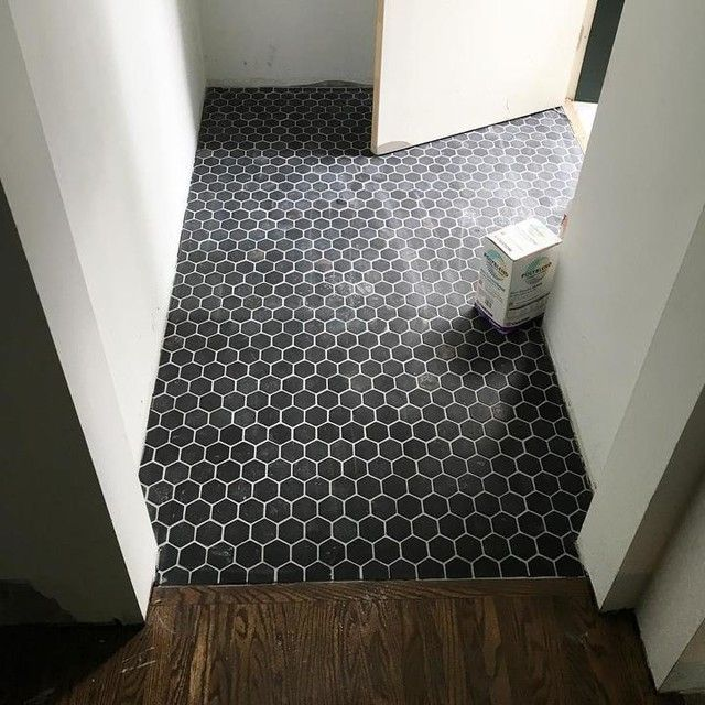 Black Entryway Floor Tile Noir Hex Travertine Mosaic