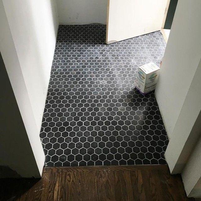 Foyer Tile Mosaic : Black entryway floor tile noir hex travertine mosaic